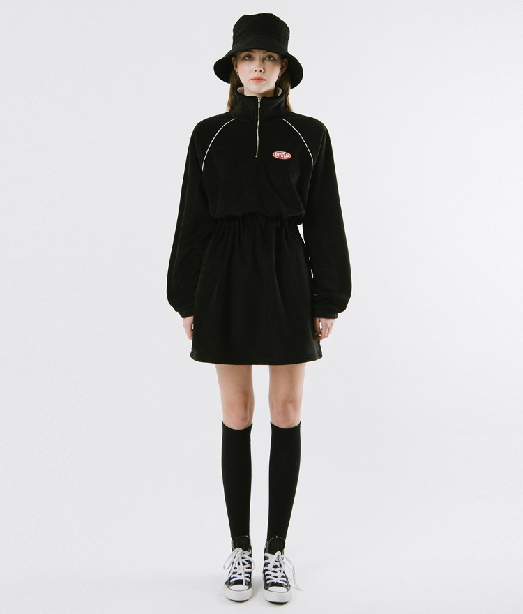 Fleece High Neck Dress (Black)