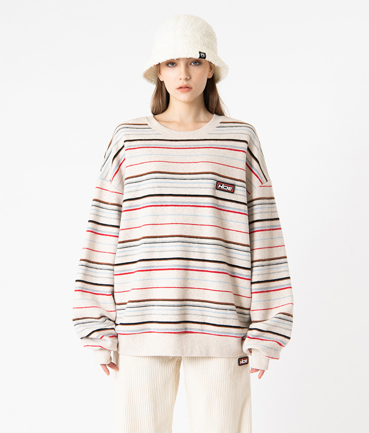 HIDELogo Patch Striped Ivory Sweatshirt