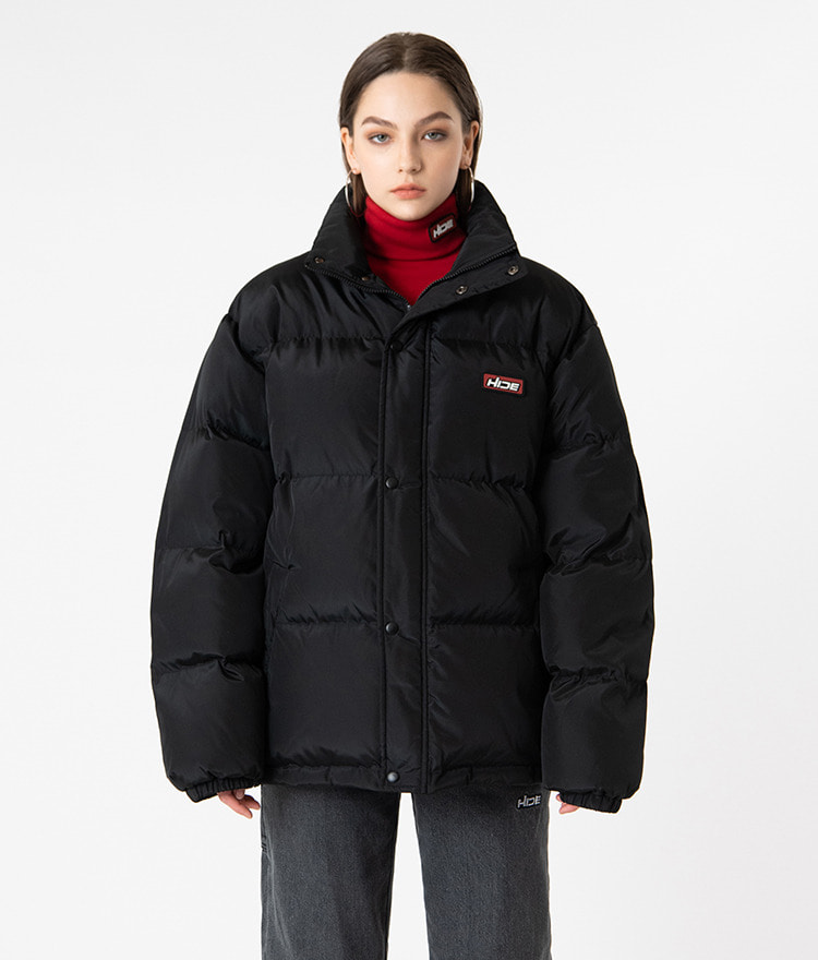 HIDEBlack High Neck Duck Down Jacket
