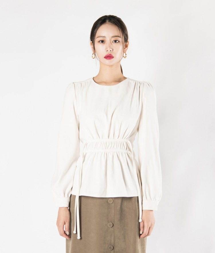 Self-Tie Drawstring Waist Blouse