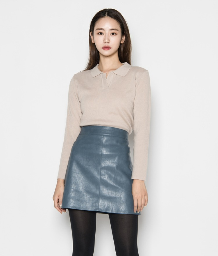 Collared Long Sleeve Knit Top