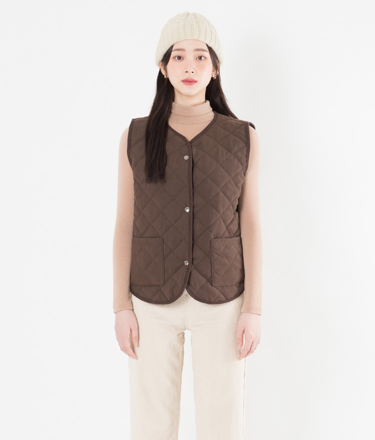 Quilted Button-Front Vest
