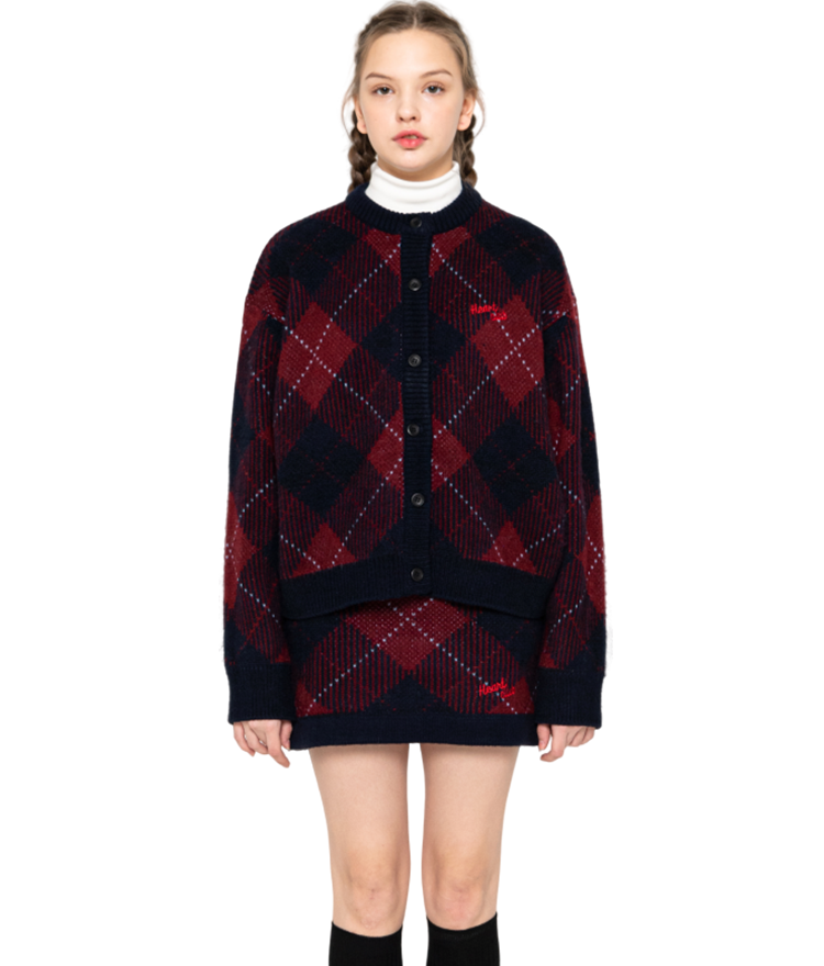 Heart Check Knit Cardigan (Wine)