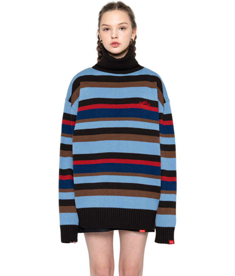 Heart High Neck Stripe Knit (Sky Blue)