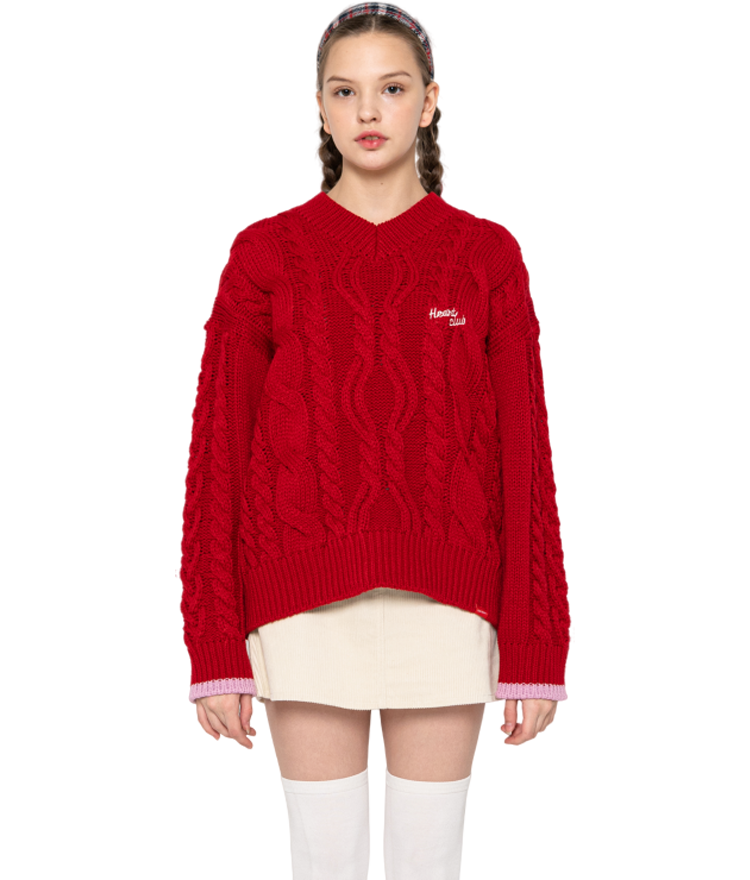 Heart V-neck Knit (Red)