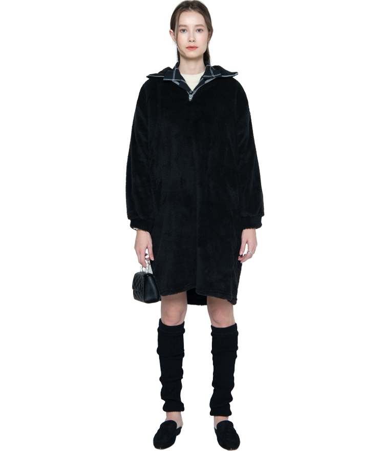 Sherpa Fleece Quarter Zip Dress