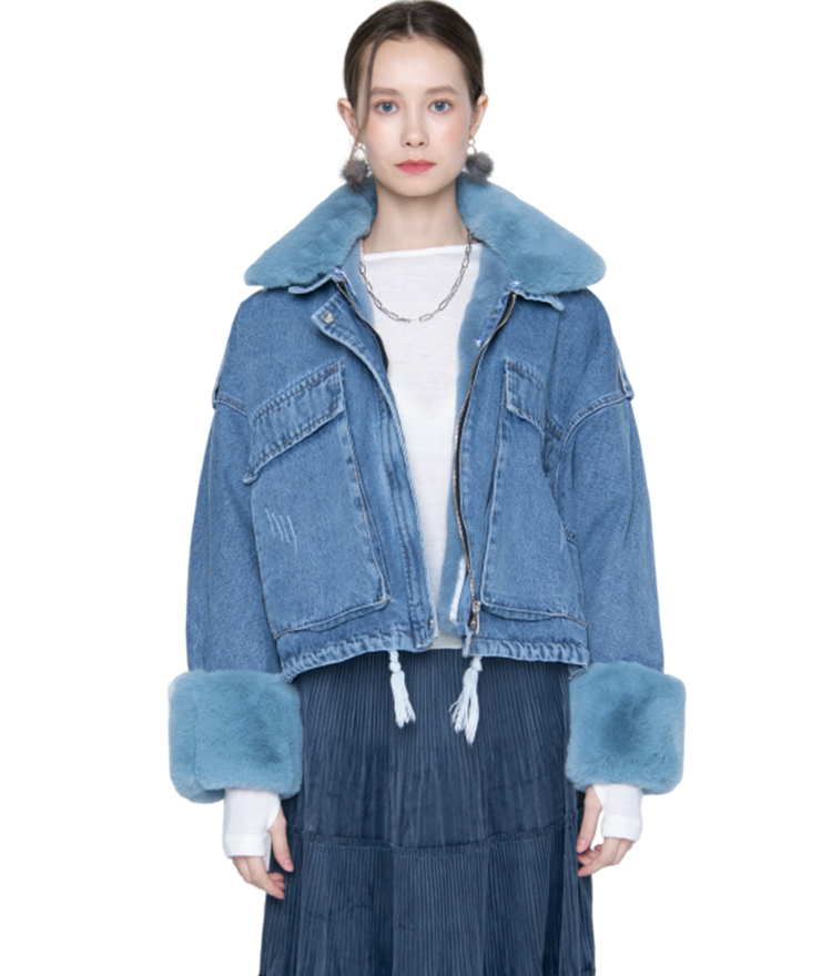 Fuzzy Collar And Cuff Denim Jacket