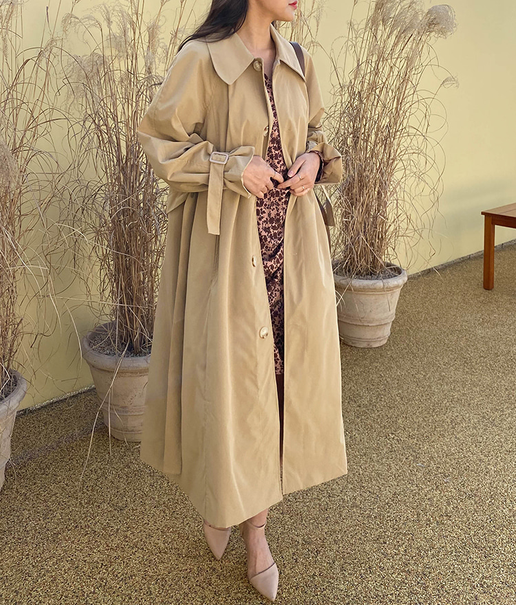 ROMANTIC MUSEBelted Button-Front Trench Coat