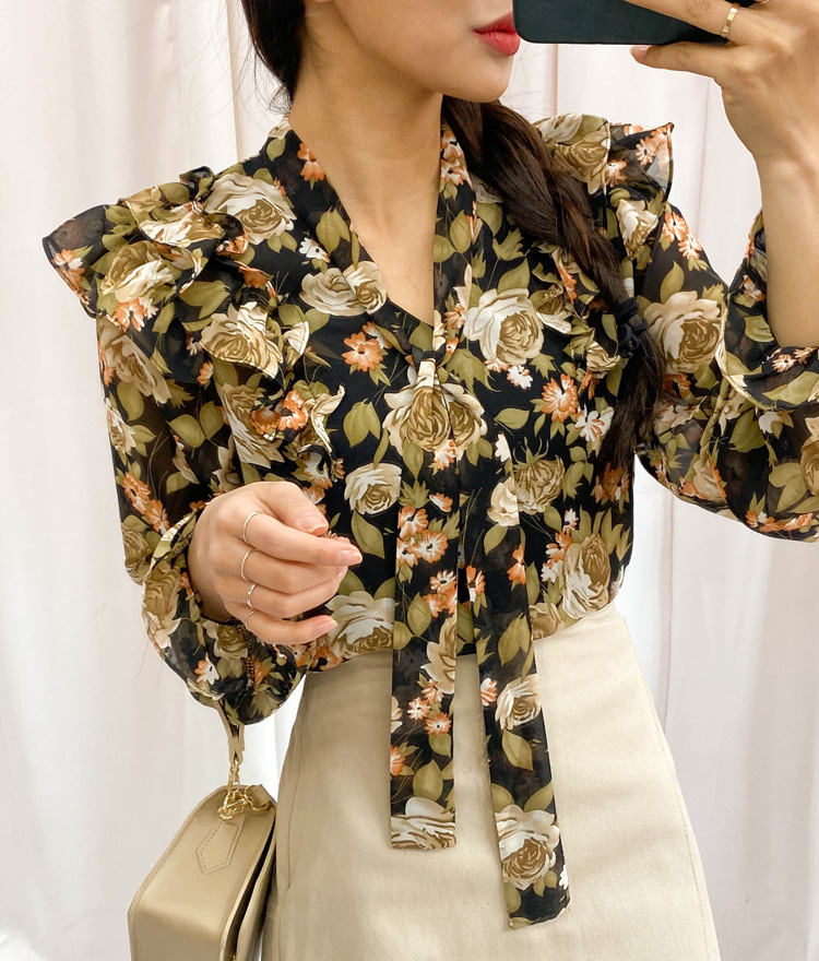 ROMANTIC MUSEMulticolored Floral Pattern Blouse