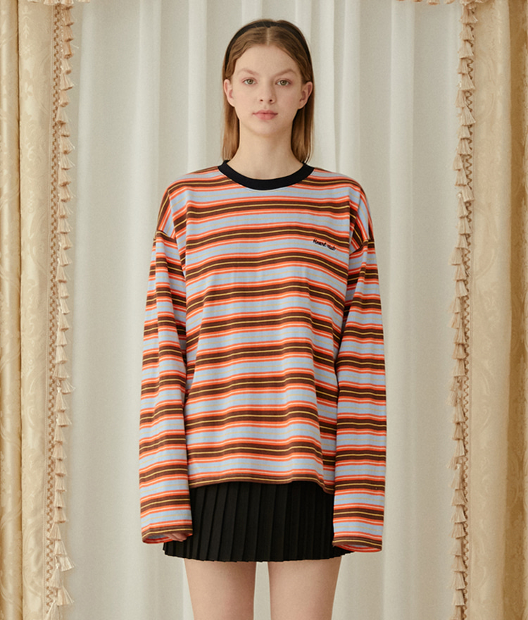 HEART CLUBRound Neck Striped Loose Top