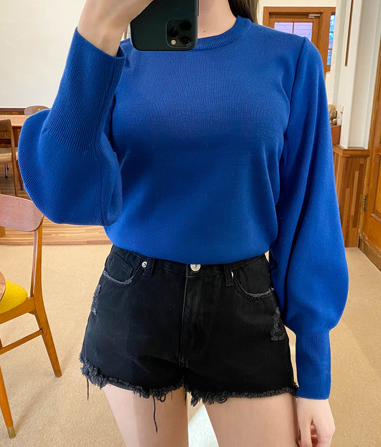 NEVERM!NDRound Neck Bishop Sleeve Knit Top
