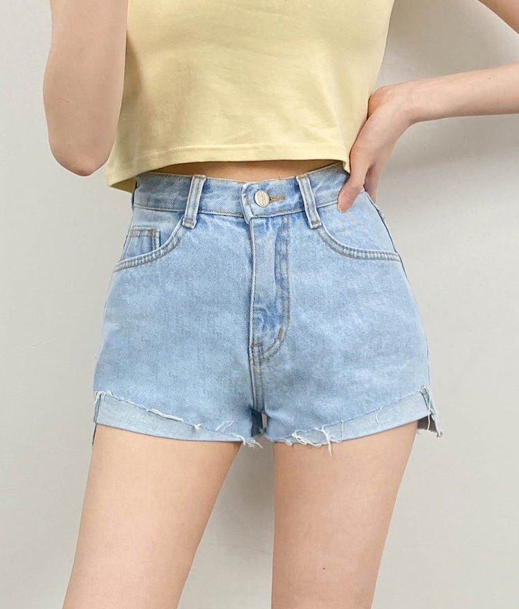 NEVERM!NDHigh Waist Raw Hem Denim Shorts