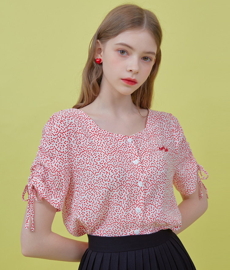 HEART CLUBAllover Pattern Drawstring Sleeve Blouse