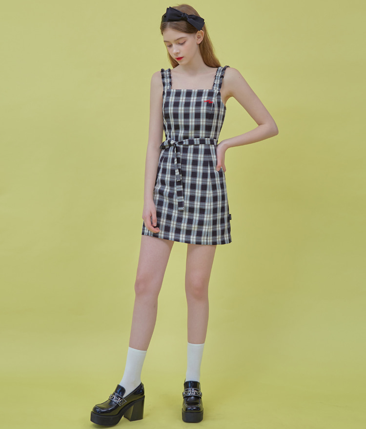 HEART CLUBBlack Tie-Waist Check Dress