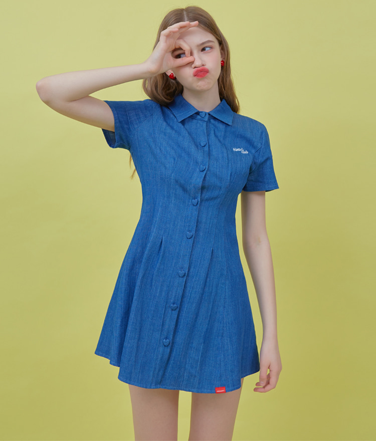 HEART CLUBBlue Collared Mini Denim Dress