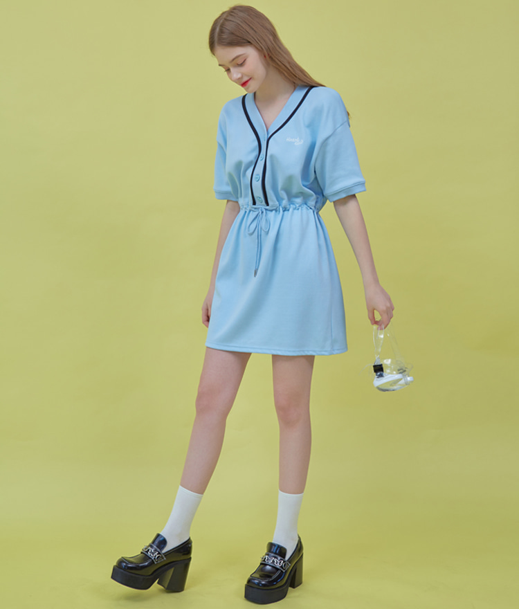 HEART CLUBSky Blue Drawstring Waist Mini Dress