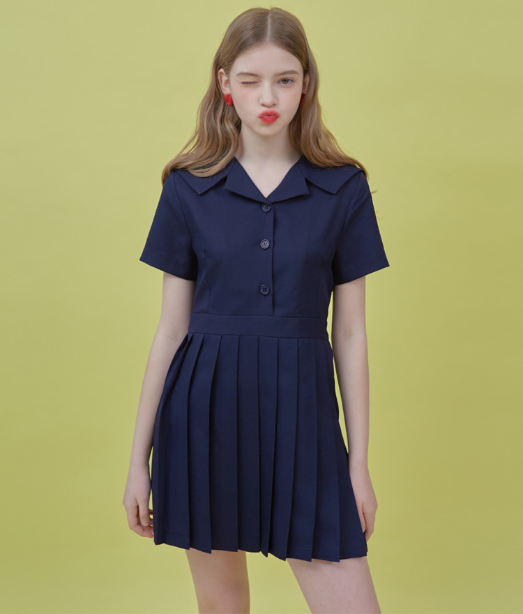 Heart Pleats Sailor Dress (Deep Navy)