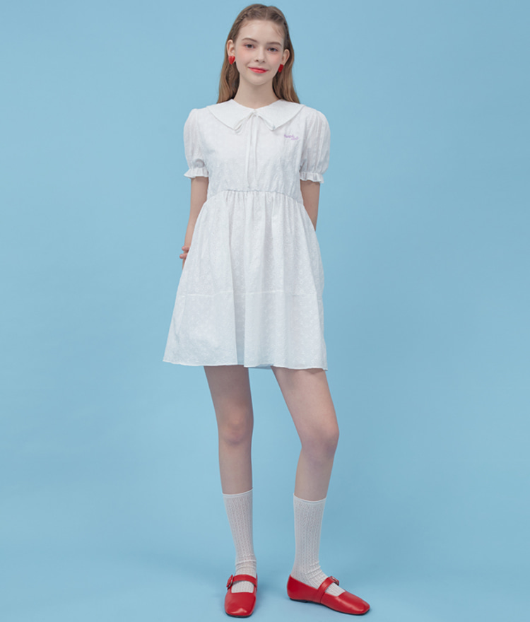 Heart Cotton Lace Dress (White)