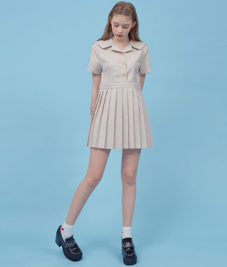 Heart Pleats Sailor Dress (Beige)