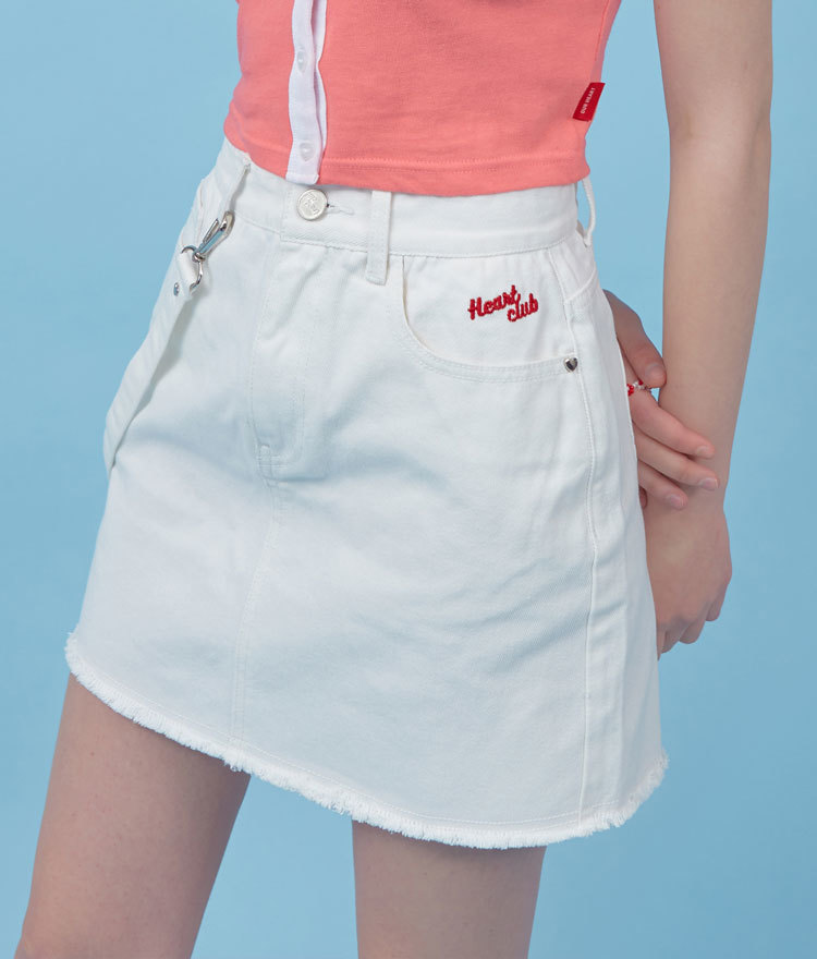 Heart Strap Denim Skirt (White)