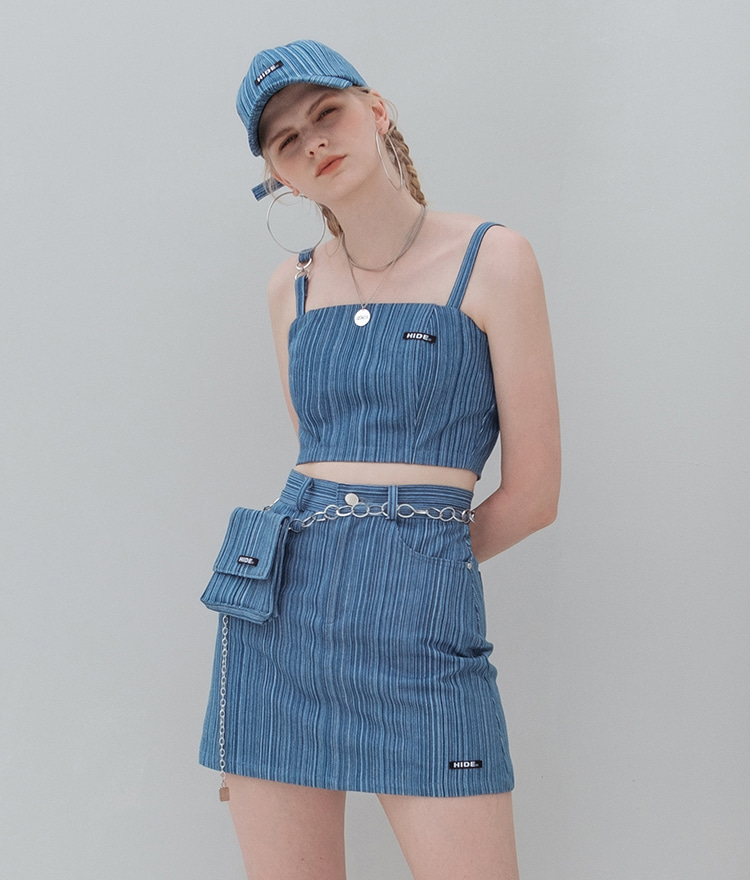 HIDEStriped Denim Crop Sleeveless Top