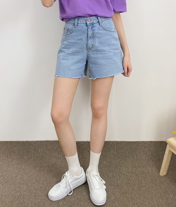 NEVERM!NDWhiskered Blue Cutoff Denim Shorts