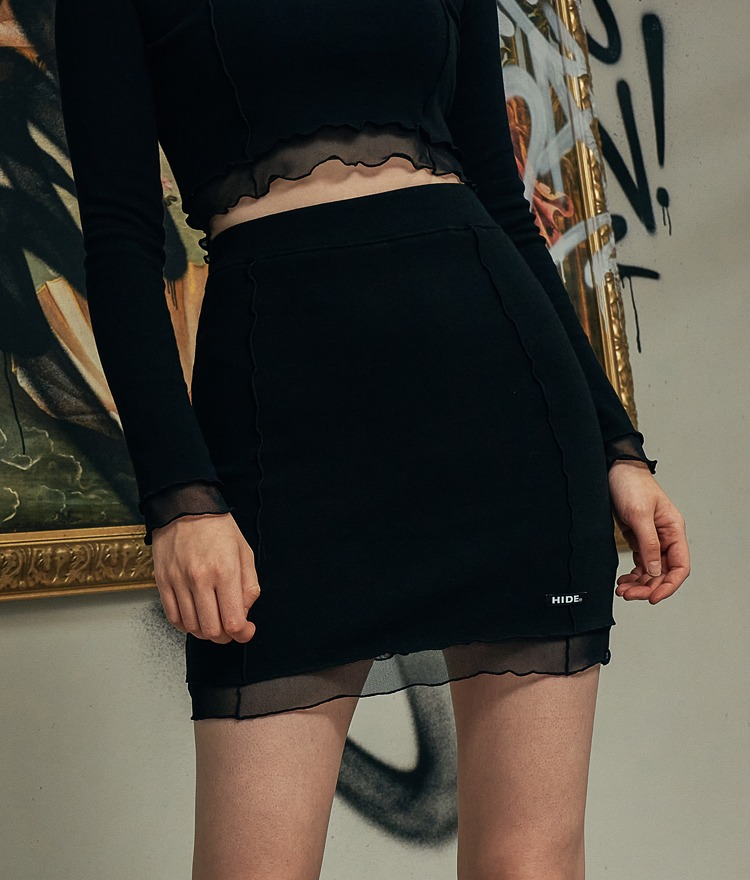 HIDEBlack Lettuce Trim Mini Skirt