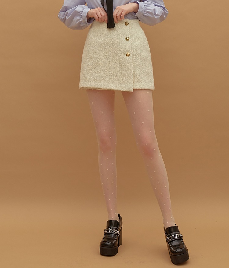 HEART CLUBHeart Button Tweed Ivory Mini Skirt