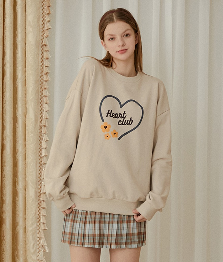 HEART CLUBBeige Logo And Flower Print Sweatshirt