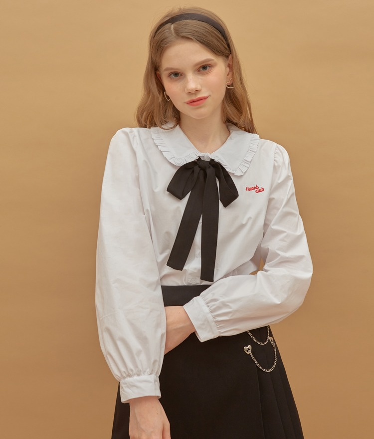 HEART CLUBContrast Ribbon Accent White Blouse