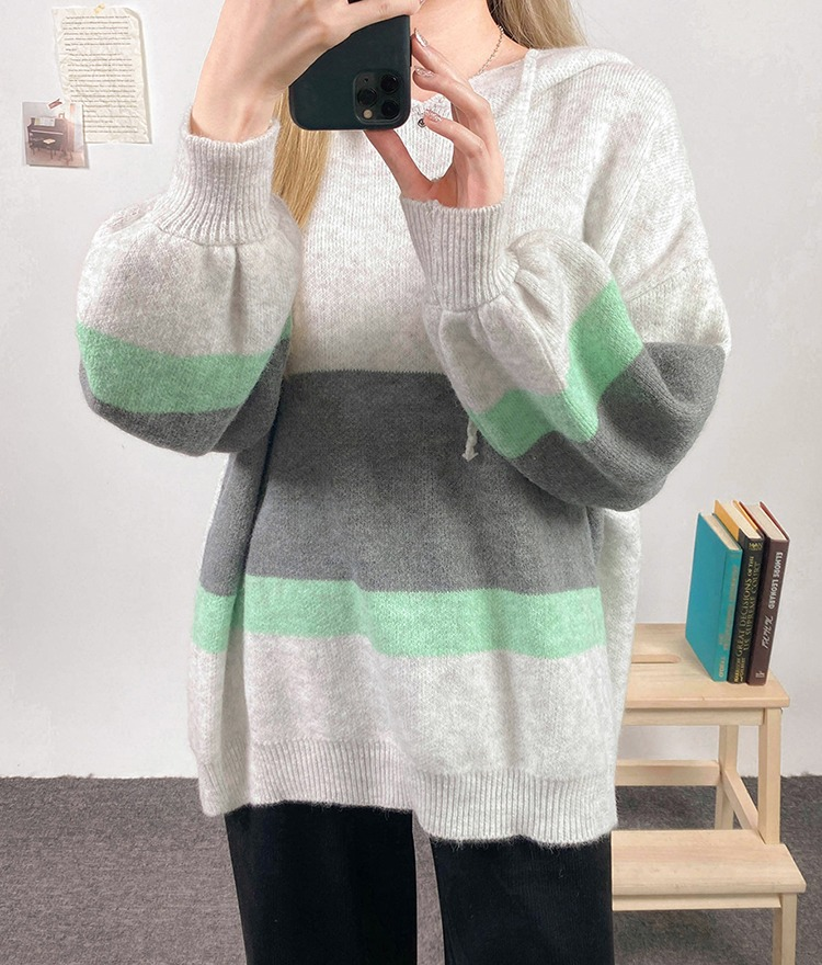 NEVERM!NDColor Blocked Hooded Knit Top