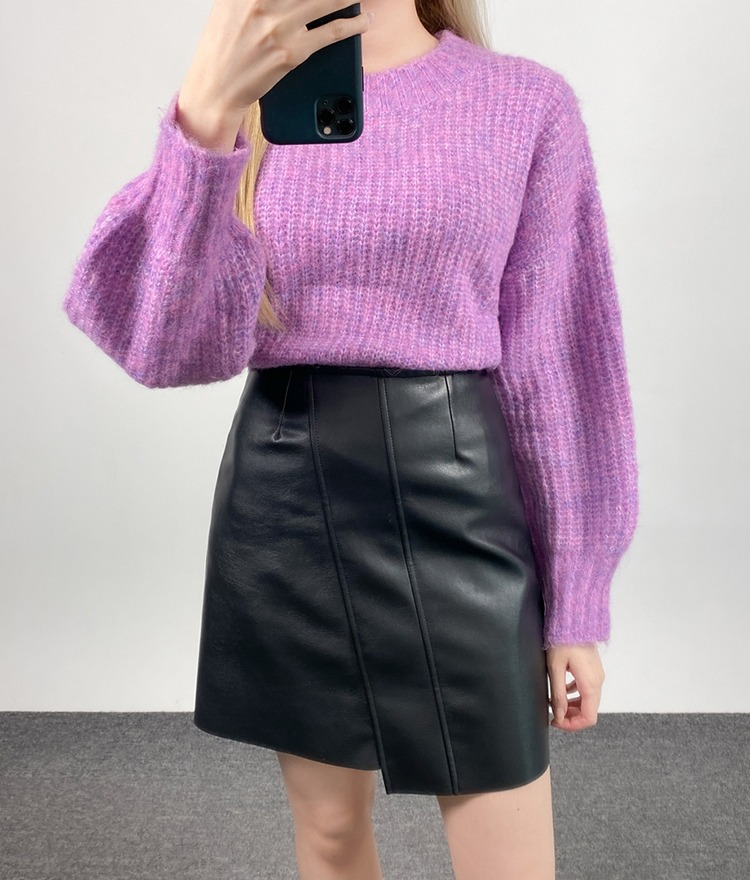 QUIETLABBalloon Sleeve Crop Knit Top