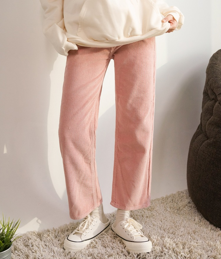 NEVERM!NDSingle Tone Corduroy Pants