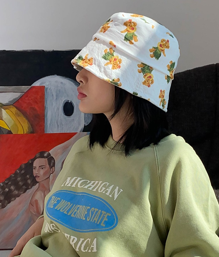 NEVERM!NDBear Pattern Bucket Hat