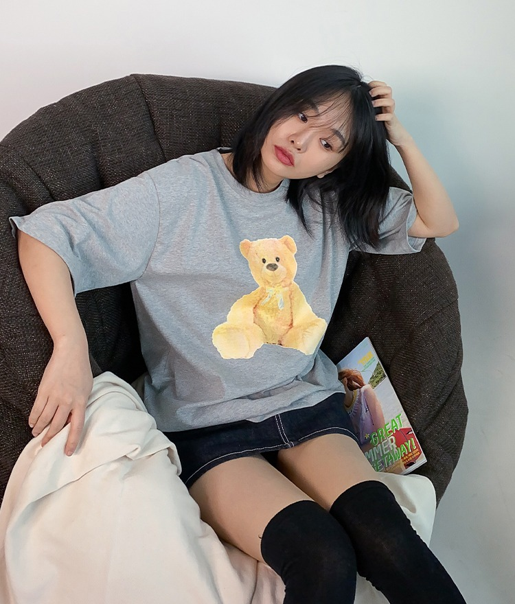NEVERM!NDTeddy Bear Print Half Sleeve T-Shirt