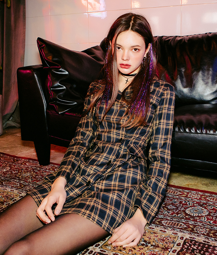 LONELY CLUBDouble Breasted Check Jacket Dress