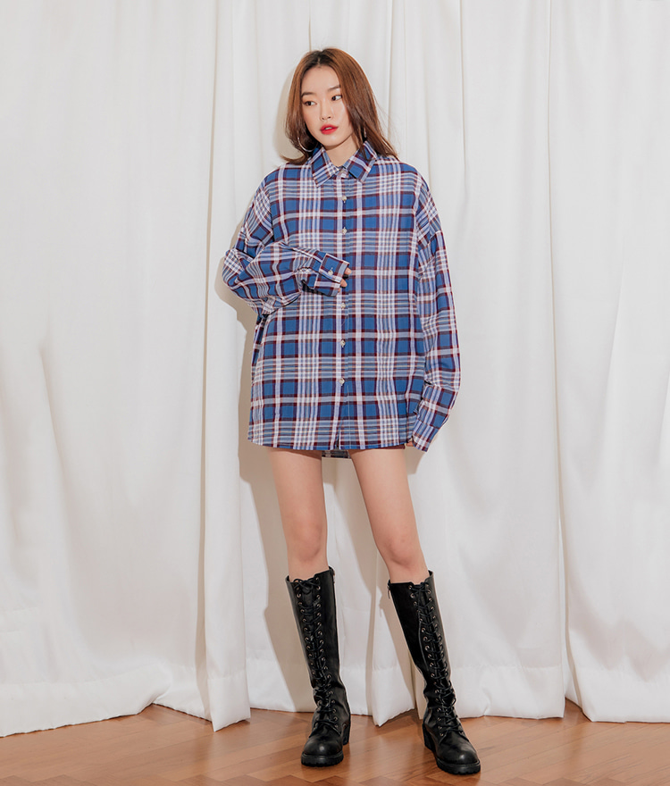 QUIETLABCotton Oversized Check Shirt