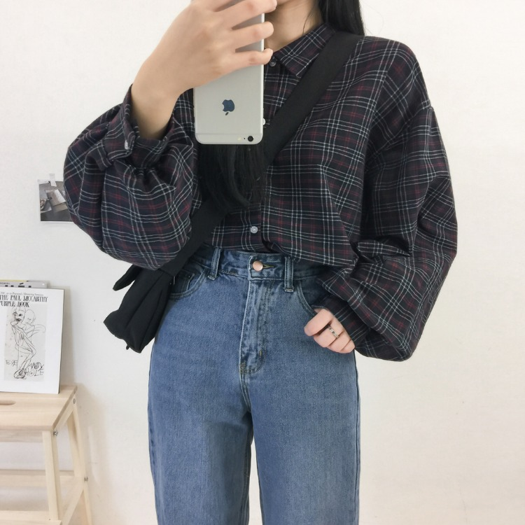 NEVERM!NDBalloon Sleeve Loose Fit Check Shirt