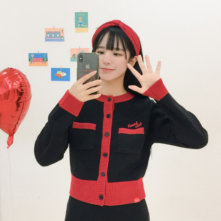 HEART CLUB Knitted Button-Up Cardigan