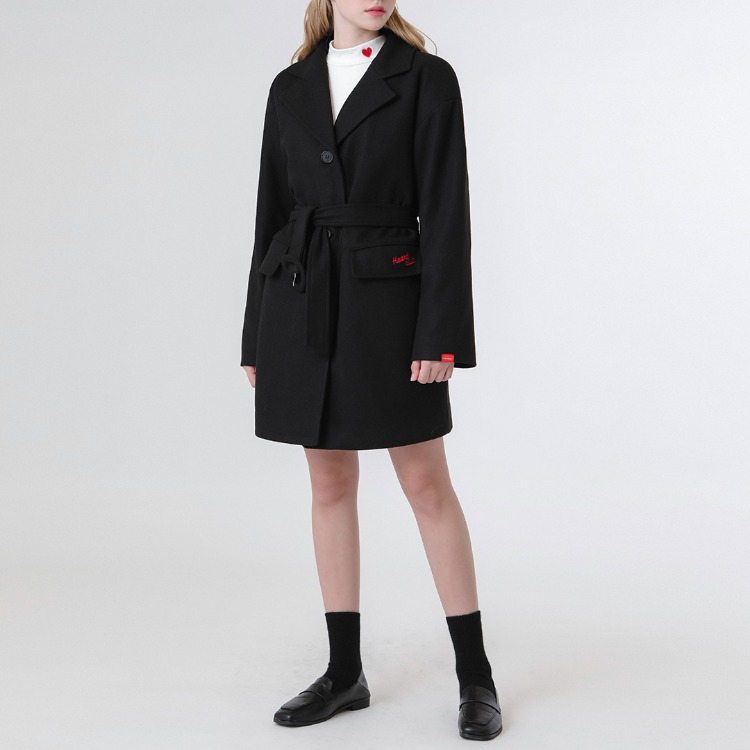 HEART CLUBBlack Buckled Belt Short Coat