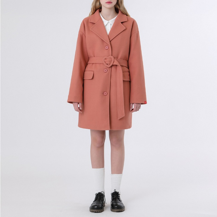 HEART CLUBIndie Pink Buckled Belt Short Coat
