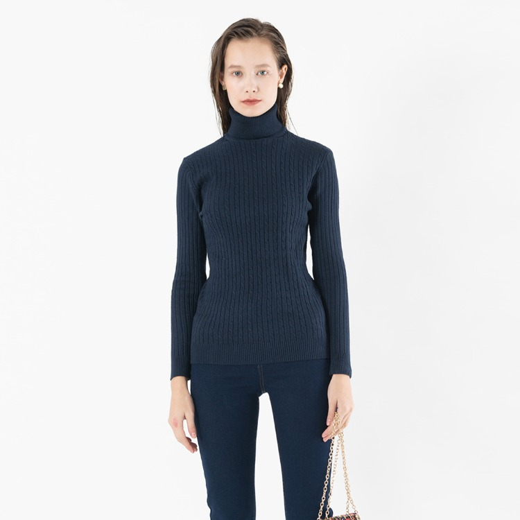 Slim Cable Knit Turtleneck Sweater