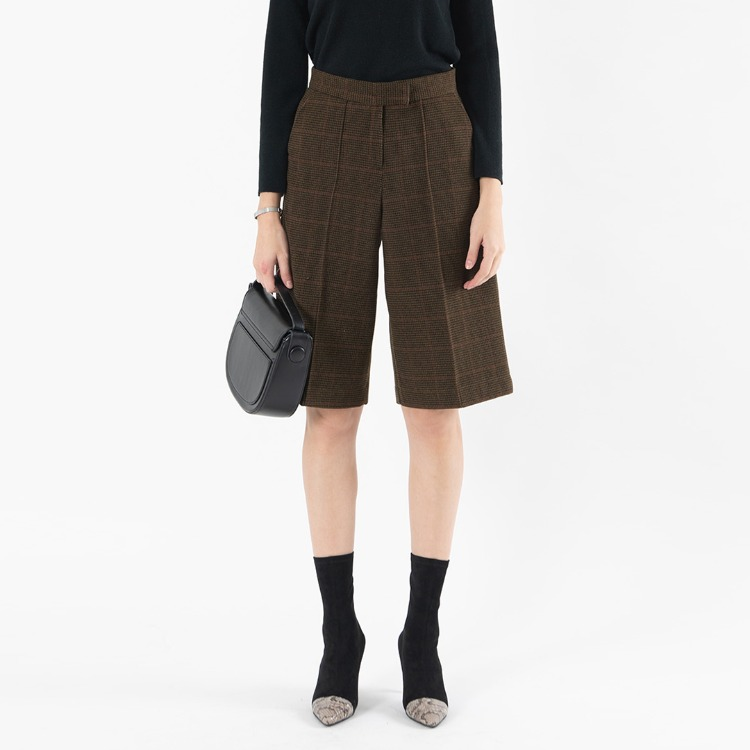 High Waist Check Gaucho Pants