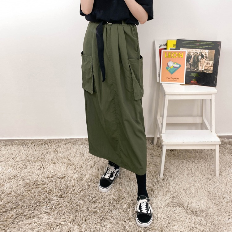 NEVERM!NDBelted Patch Pocket Long Skirt