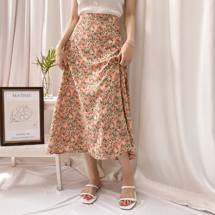 ROMANTIC MUSEDitsy Floral Long A-Line Skirt
