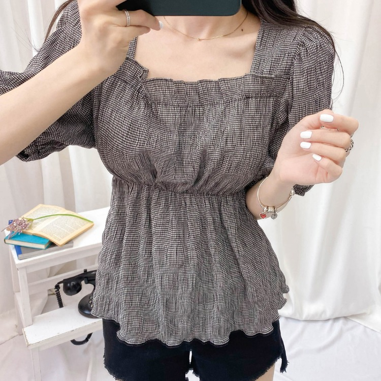 ROMANTIC MUSESquare Neck Textured Blouse