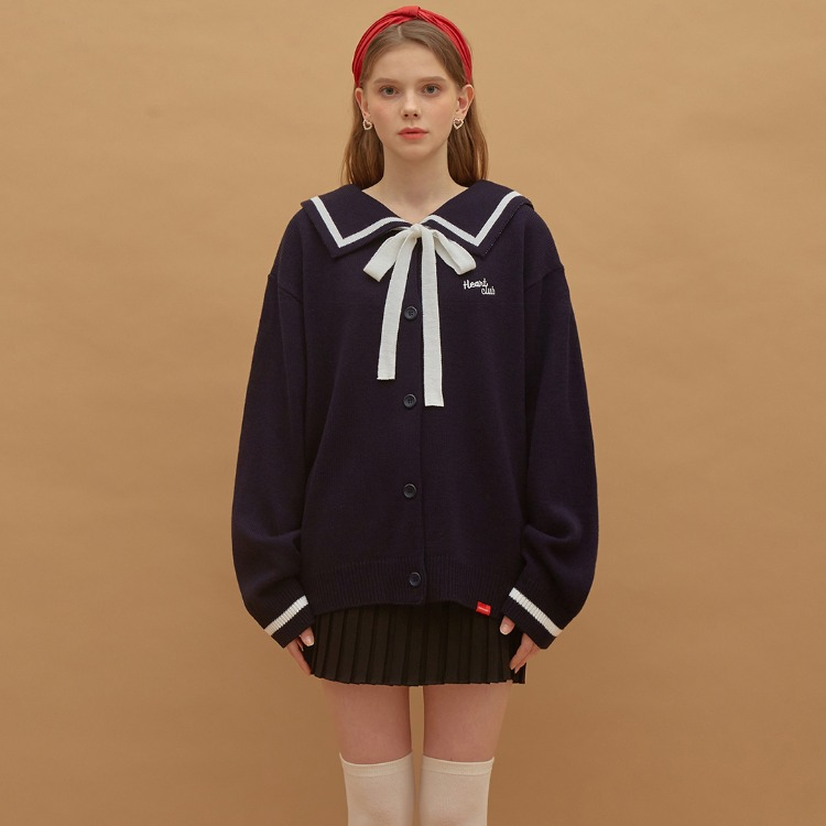 HEART CLUBSailor Collar Ribbon Accent Knit Cardigan