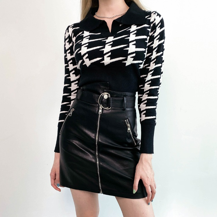 QUIETLABPatterned Collared Knit Top