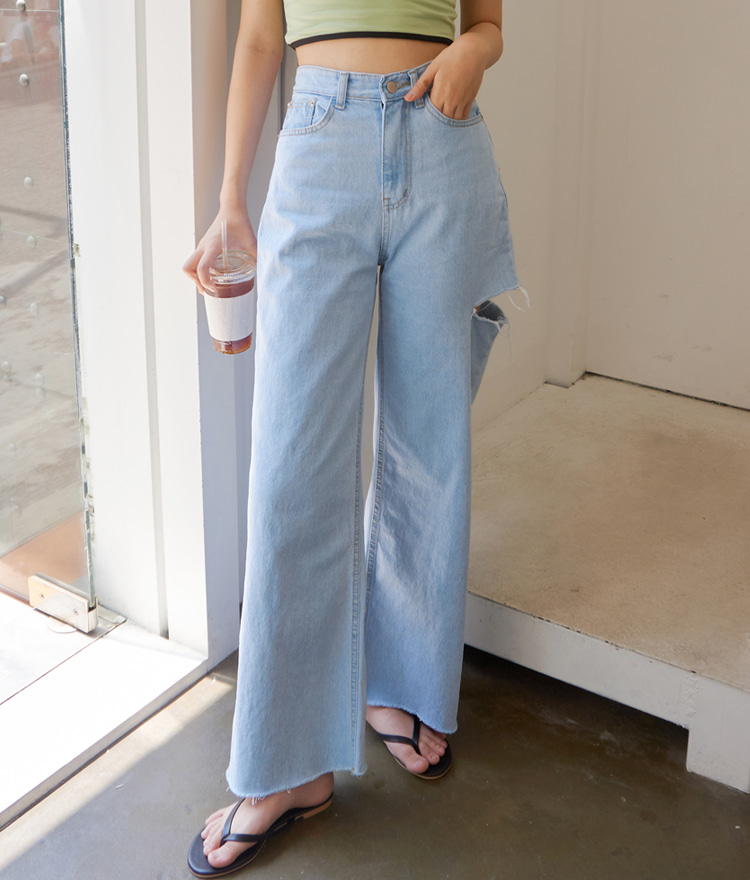 QUIETLABCutout Accent Wide Leg Jeans