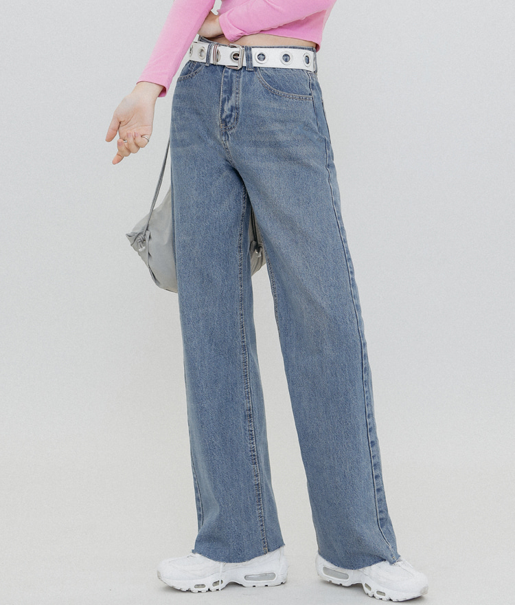 QUIETLABFrayed Hem High Waist Jeans